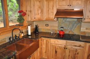 Rustic kitchen cabinets in appealing kitchen with brown farmhouse sink