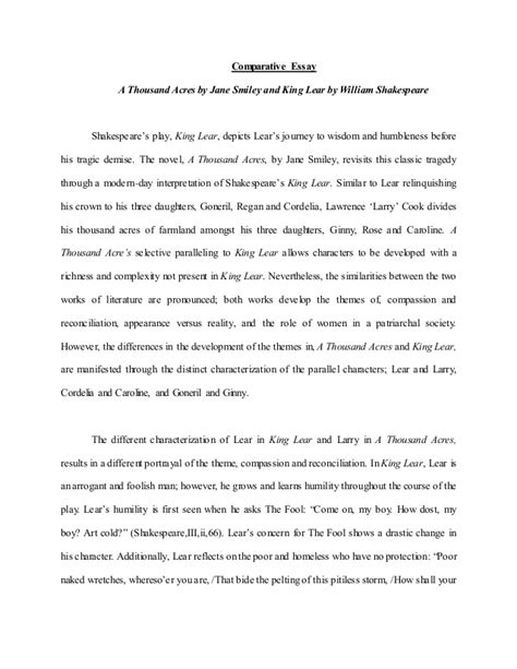 King Lear Essay by Comparative Essay A Thousand Acres And King Lear