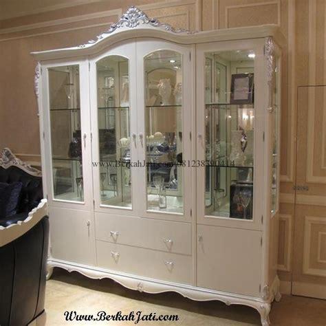 Bufet Pajangan Jati Jepara 3 Pintu Kaca Cantik Bagus lemari hias cat putih duco kaca berkah jati furniture