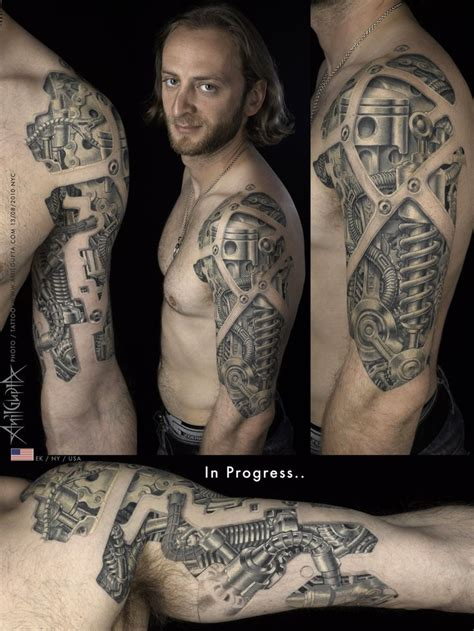 robotic tattoos bio mechanical chest arm bio mechanical tattoos