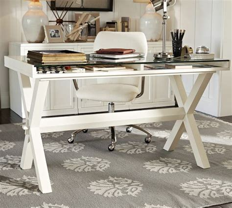 Pottery Barn Desks White by Glass Display Wood Desk Antique White Pottery Barn