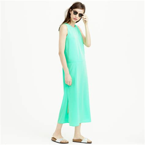 j crew side slit maxi tank dress in green lyst