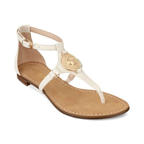 guess flat shoes guess s rafiya t flat sandals in white ivory