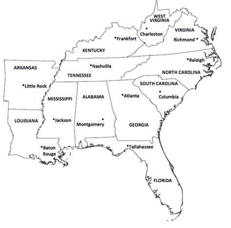 interactive map of southeast us 4th gr regions of the u s word shakers the