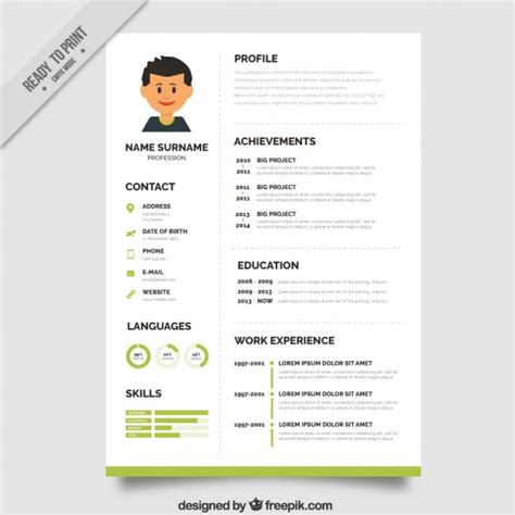green resume template vector free