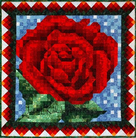 rose pattern for mosaic quilt pattern red rose mosaic quilt pattern immediate