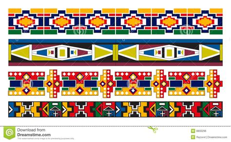 zulu pattern vector ndebele african border pattern art stock vector