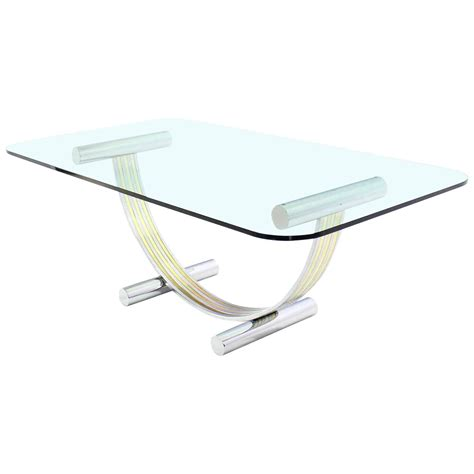 Glass Top Conference Table Thick Glass Top Dining Conference Table Romeo Rega Style For Sale At 1stdibs