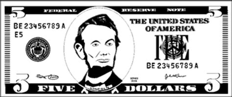 coloring page 5 dollar bill printable paper five dollar bill to color