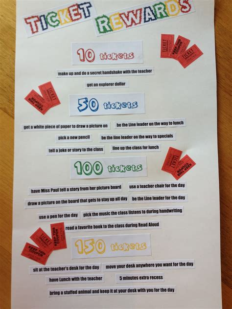 printable reward tickets classroom a love for teaching tickets and rewards