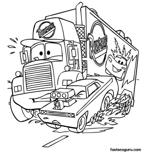 coloring pages cars 2 characters mack car 2 printbale coloring pages disney characters