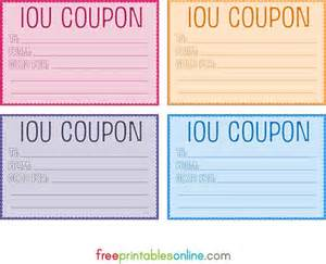 free coupon template colorful free printable iou coupons diy