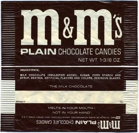 m s m m s plain chocolate candies candy pack 1970 s
