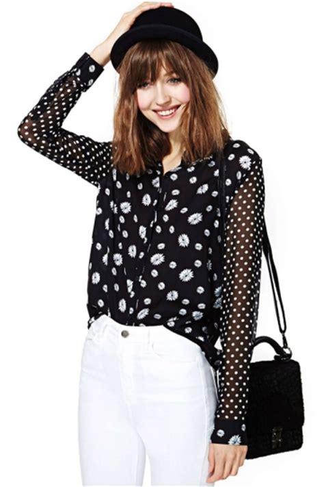 plus size black trendy print white dot womens chiffon blouse