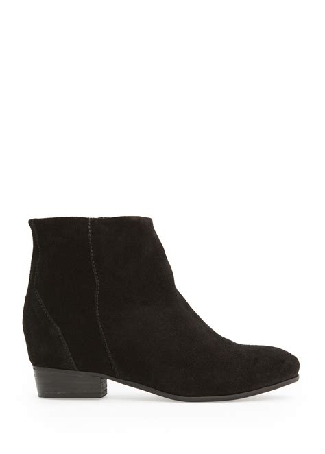 mango zipper suede ankle boots in black lyst