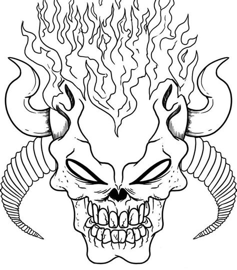 coloring pages fire skulls devil skull coloring pages on fire coloringstar