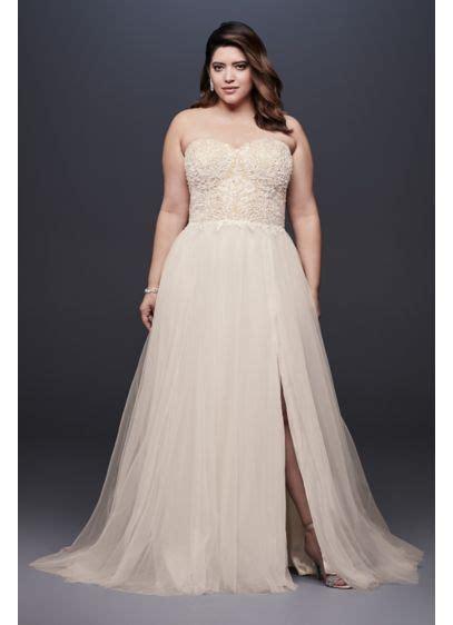 size strapless wedding dress  tulle skirt david
