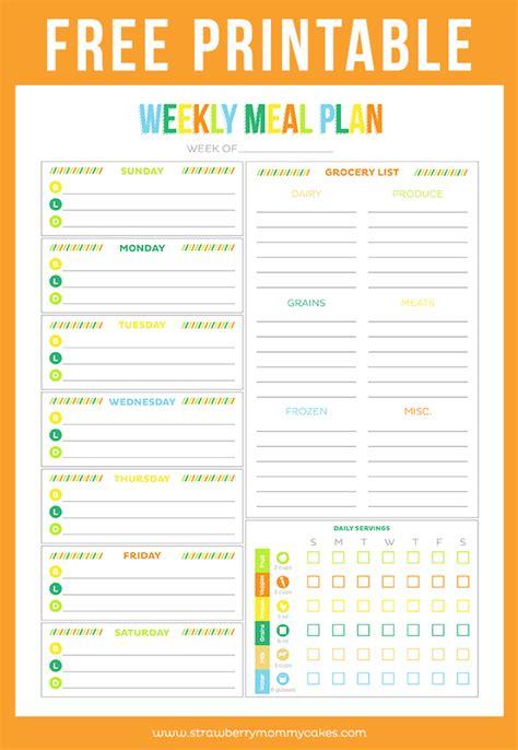 printable weekly meal planner printable crush