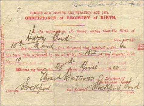 Full Birth Certificate Stoke On Trent | harry bird