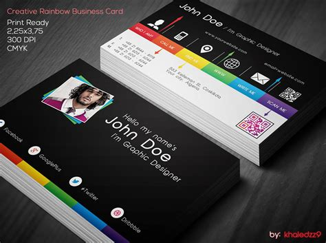 free creative business card psd templates creative rainbow business card by khaledzz9 on deviantart