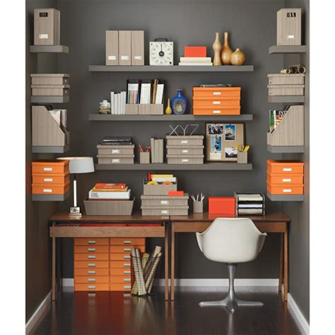 container store desk organizer bigso orange stockholm office document box the container