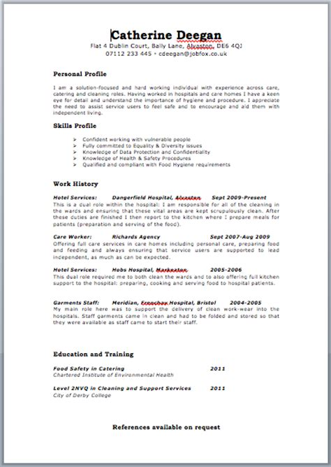 cv template care assistant free targeted cv template zone jobfox uk