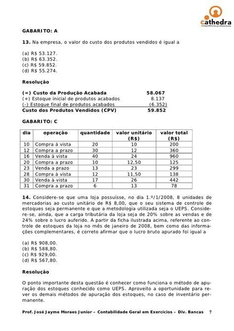 Exercicios resolvidos contabilidade aula 02