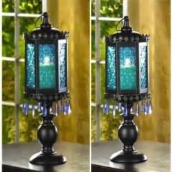 Large Candle Holder Centerpiece 2 Large Lantern Candelabra Beaded Blue L Candle Holder