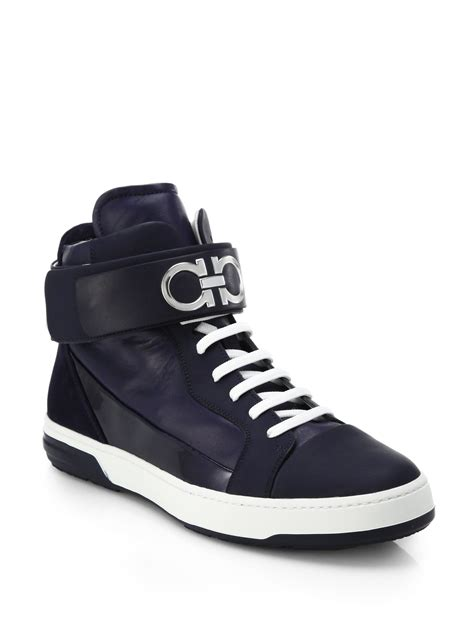 salvatore ferragamo sneakers lyst ferragamo ankle high top sneakers in