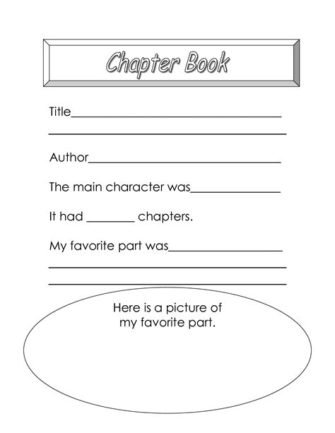 Chapter Book Report Template 5 Best Images Of My Favorite Book Worksheet My Memory