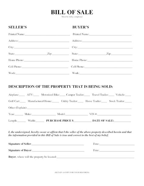 bill of sale form template doc 7911024 atv bill of sale business form template