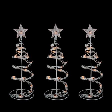 walmart spiral christmas tree set of 3 clear lighted outdoor spiral walkway trees outdoor decorations 18 quot walmart