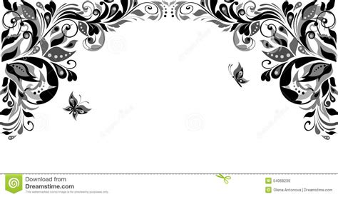 vintage floral heading black and white stock vector