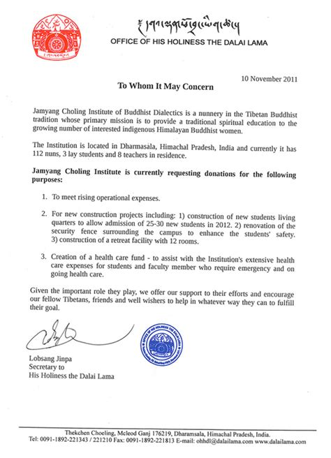 Sle Letter Of Support Home Office Letter Of Support From His Holiness The Dalai Lama S