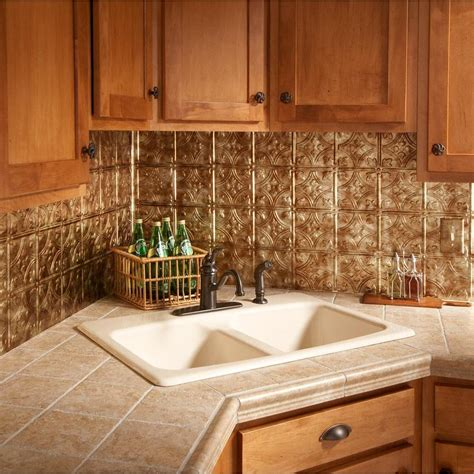 Kitchen Panels Backsplash 18 In X 24 In Traditional 1 Pvc Decorative Backsplash Panel In Bermuda Bronze B50 17 The