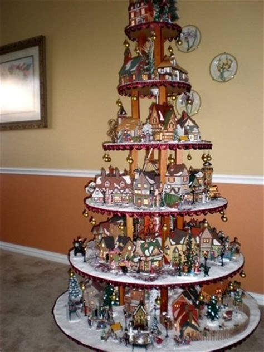 christmas village tree display pattern pattern for village house display dept 56 lemax