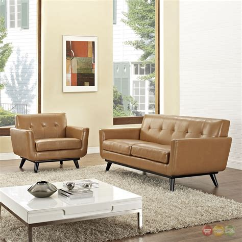Tufted Living Room Set Engage Contemporary 2pc Button Tufted Leather Living Room Set