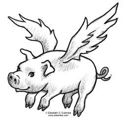 the gallery for gt flying pig drawing