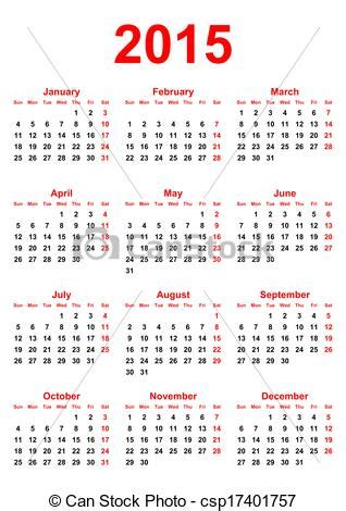 Buy Calendrier 2015 Stock De Ilustrationes De Calendario 2015 Blanco Plano