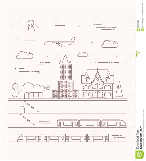 linear layout web design vector city and underground illustration in linear style