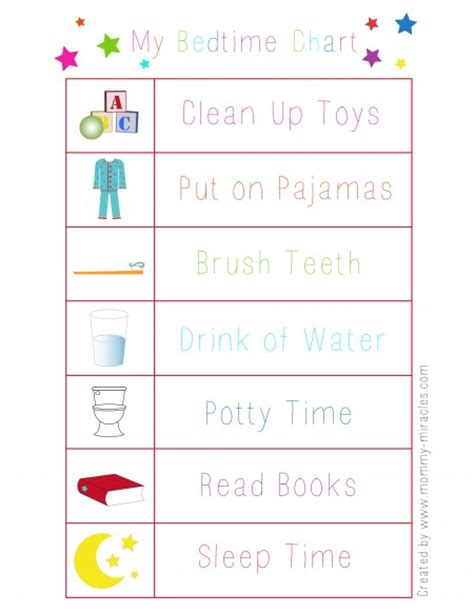 printable toddler bedtime routine chart printable chore bedtime and potty training charts free