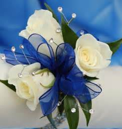 Royal Blue Corsage White Sweetheart Rose Corsage Blue