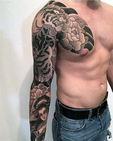 chest and half sleeve tattoo designs 50 japanese chest tattoos for masculine design ideas