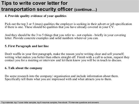 Transportation Officer Cover Letter by Transportation Security Officer Cover Letter