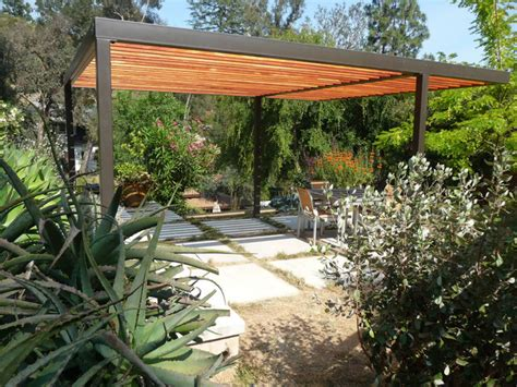 contemporary steel and wood pergola contemporary