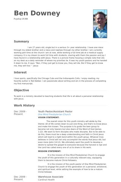 Youth Pastor Resume Sles Visualcv Resume Sles Database Ministry Resume Template