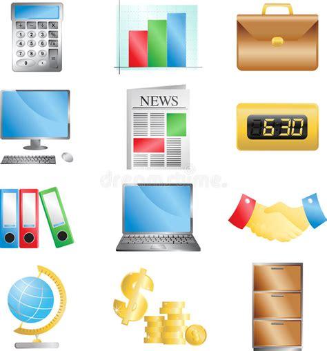 icone ufficio icone dell ufficio di affari illustrazione vettoriale