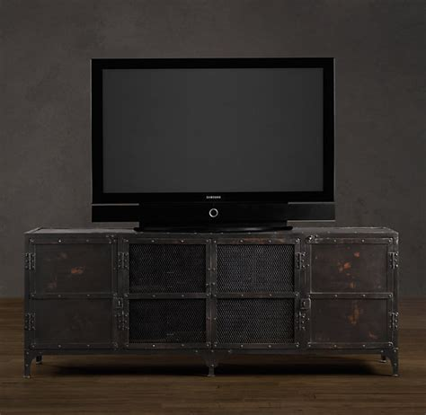 industrial media console restoration hardware industrial tool chest media console