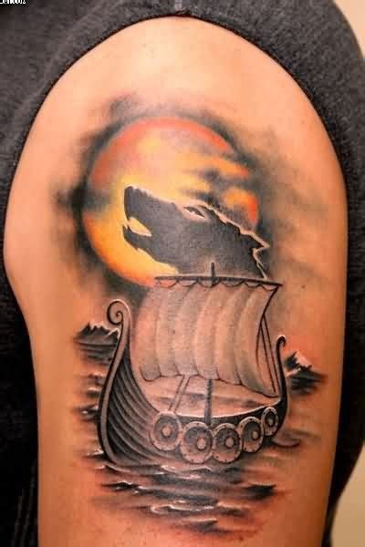 viking longship tattoo design 37 viking shoulder tattoos