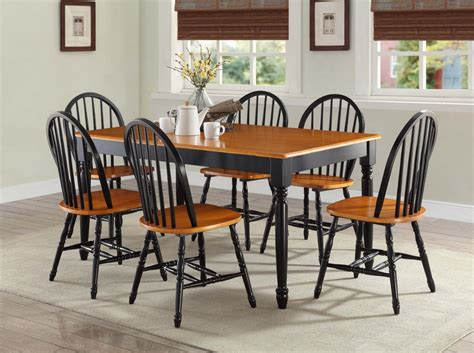 Farmhouse Dining Table Set 7 Pc Dining Room Sets Table Chairs Wood Farmhouse Country Set Black Oak Ebay